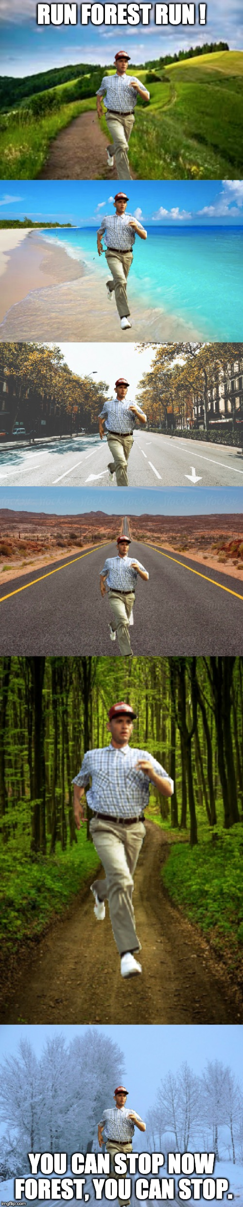 run forest run | RUN FOREST RUN ! YOU CAN STOP NOW FOREST, YOU CAN STOP. | image tagged in run forrest run,fun | made w/ Imgflip meme maker