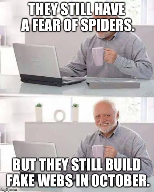 Hide the Pain Harold Meme | THEY STILL HAVE A FEAR OF SPIDERS. BUT THEY STILL BUILD FAKE WEBS IN OCTOBER. | image tagged in memes,hide the pain harold | made w/ Imgflip meme maker