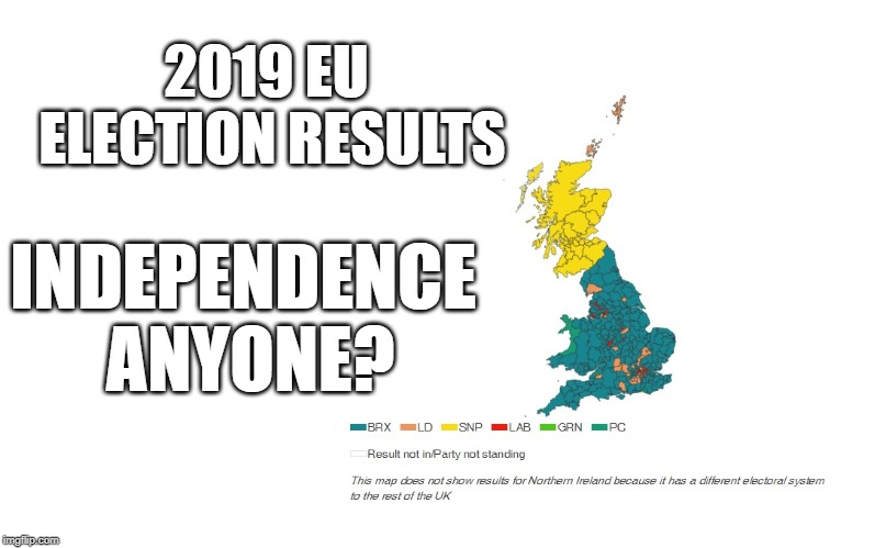 EU Election Result, UK Dead | 2019 EU ELECTION RESULTS INDEPENDENCE ANYONE? | image tagged in scotland,brexit,eu | made w/ Imgflip meme maker