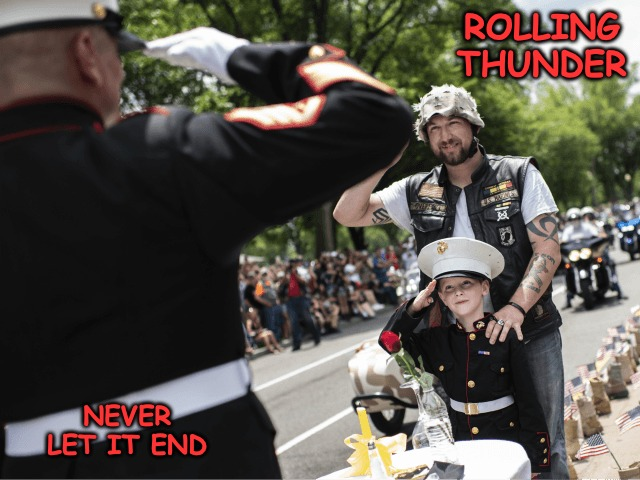 A meme in the style of Jessica... | ROLLING THUNDER NEVER LET IT END | image tagged in redredwine,veterans day | made w/ Imgflip meme maker