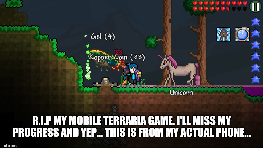 R.I.P | R.I.P MY MOBILE TERRARIA GAME. I'LL MISS MY PROGRESS AND YEP... THIS IS FROM MY ACTUAL PHONE... | image tagged in rip,terraria | made w/ Imgflip meme maker