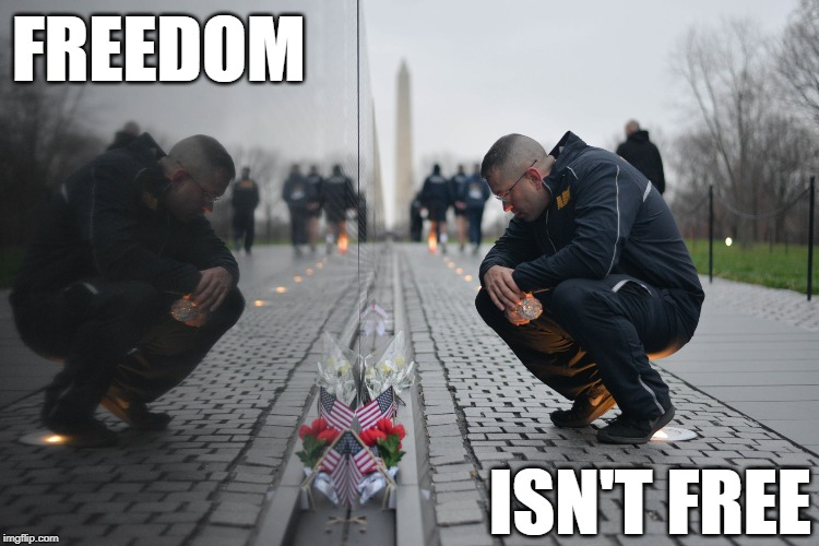 Everything has a cost... |  FREEDOM; ISN'T FREE | image tagged in freedom,memorial day | made w/ Imgflip meme maker