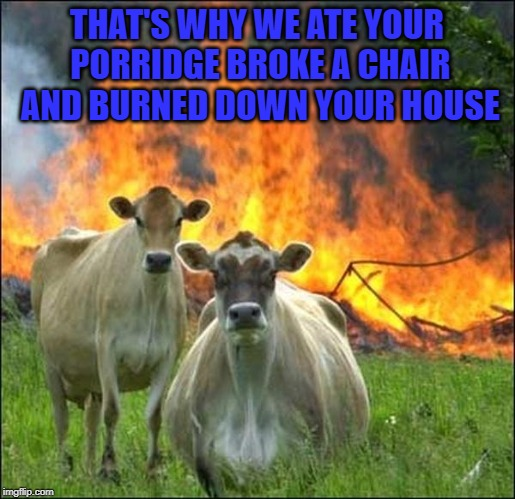 THAT'S WHY WE ATE YOUR PORRIDGE BROKE A CHAIR AND BURNED DOWN YOUR HOUSE | made w/ Imgflip meme maker
