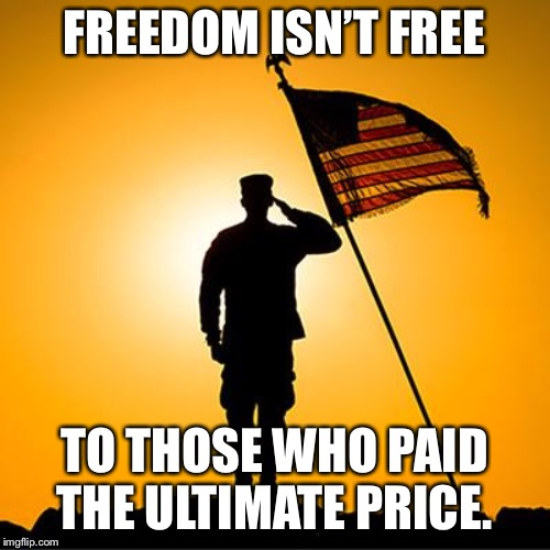 We salute you | FREEDOM ISN'T FREE TO THOSE WHO PAID THE ULTIMATE PRICE. | image tagged in memorial day | made w/ Imgflip meme maker