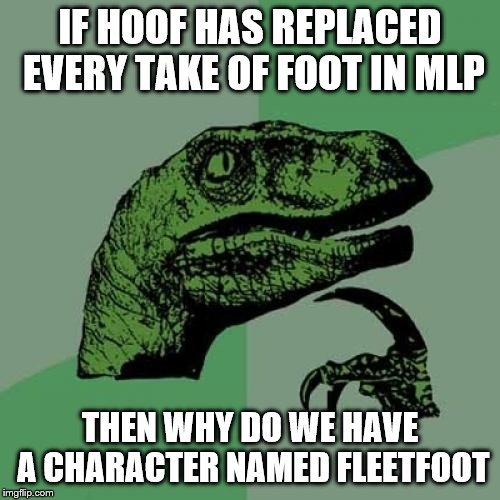 Hoof or Foot | IF HOOF HAS REPLACED EVERY TAKE OF FOOT IN MLP THEN WHY DO WE HAVE A CHARACTER NAMED FLEETFOOT | image tagged in memes,philosoraptor,mlp,mlp meme | made w/ Imgflip meme maker
