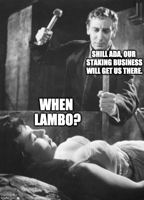 stake in the heart |  SHILL ADA, OUR STAKING BUSINESS WILL GET US THERE. WHEN LAMBO? | image tagged in stake in the heart | made w/ Imgflip meme maker