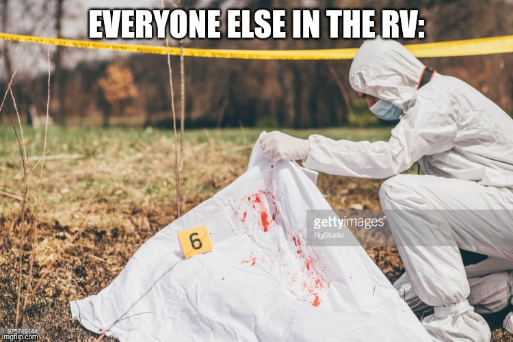 Covering a dead body | EVERYONE ELSE IN THE RV: | image tagged in covering a dead body | made w/ Imgflip meme maker