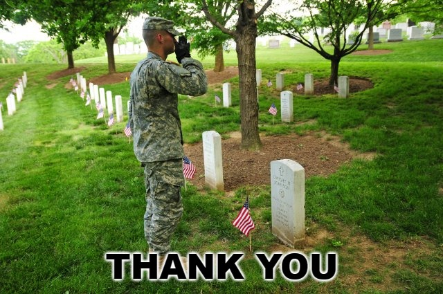 THANK YOU | image tagged in memes,soldier saluting,united states,united states military,memorial day | made w/ Imgflip meme maker