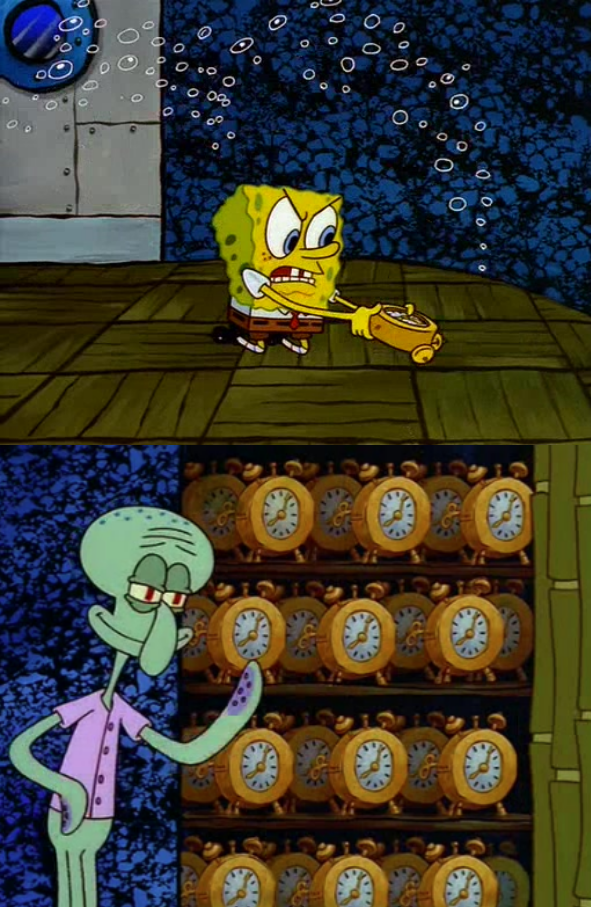 Spongebob vs Squidward Alarm Clocks Meme Template