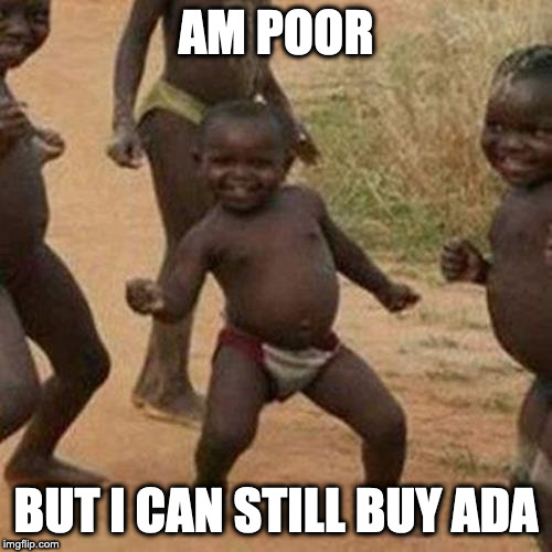 Third World Success Kid Meme |  AM POOR; BUT I CAN STILL BUY ADA | image tagged in memes,third world success kid | made w/ Imgflip meme maker