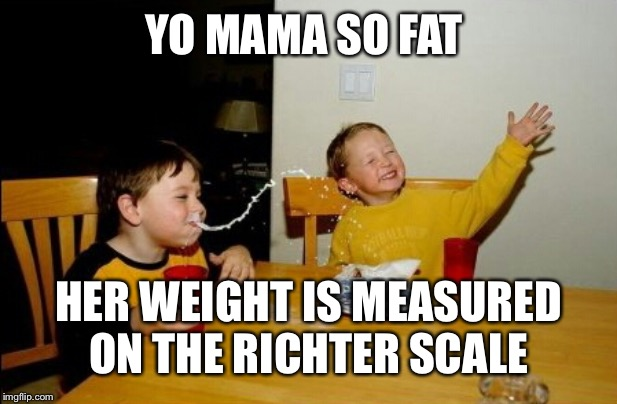 Yo Mamas So Fat Meme |  YO MAMA SO FAT; HER WEIGHT IS MEASURED ON THE RICHTER SCALE | image tagged in memes,yo mamas so fat | made w/ Imgflip meme maker