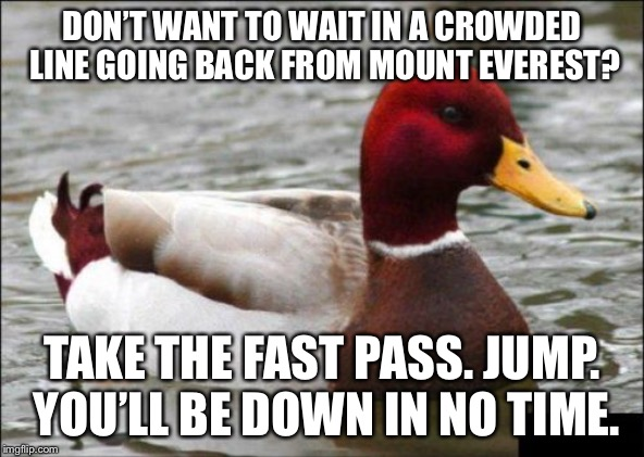 It's going downhill. Too soon? | DON'T WANT TO WAIT IN A CROWDED LINE GOING BACK FROM MOUNT EVEREST? TAKE THE FAST PASS. JUMP. YOU'LL BE DOWN IN NO TIME. | image tagged in memes,malicious advice mallard,mount everest,bad joke,jump,lines | made w/ Imgflip meme maker