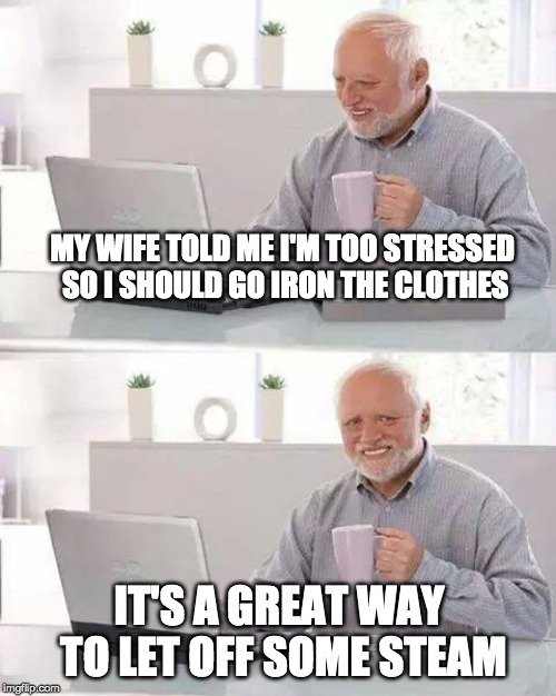 a cup of hot tea | MY WIFE TOLD ME I'M TOO STRESSED SO I SHOULD GO IRON THE CLOTHES IT'S A GREAT WAY TO LET OFF SOME STEAM | image tagged in memes,hide the pain harold,steam,pressure,housework | made w/ Imgflip meme maker