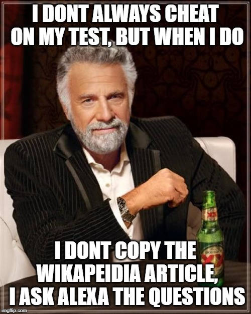 I DONT ALWAYS CHEAT ON MY TEST, BUT WHEN I DO I DONT COPY THE WIKAPEIDIA ARTICLE, I ASK ALEXA THE QUESTIONS | image tagged in memes,the most interesting man in the world | made w/ Imgflip meme maker