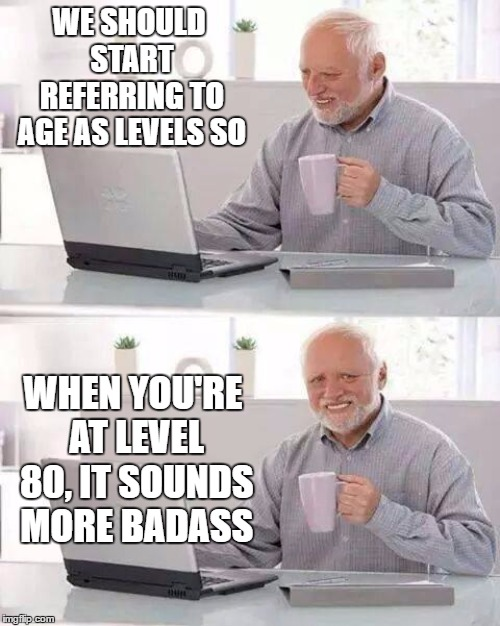 I've been using the level system now for a few years. How old are you? I'm at level (your age). Some of the responses are great. | WE SHOULD START REFERRING TO AGE AS LEVELS SO WHEN YOU'RE AT LEVEL 80, IT SOUNDS MORE BADASS | image tagged in memes,hide the pain harold,badass,level,age | made w/ Imgflip meme maker