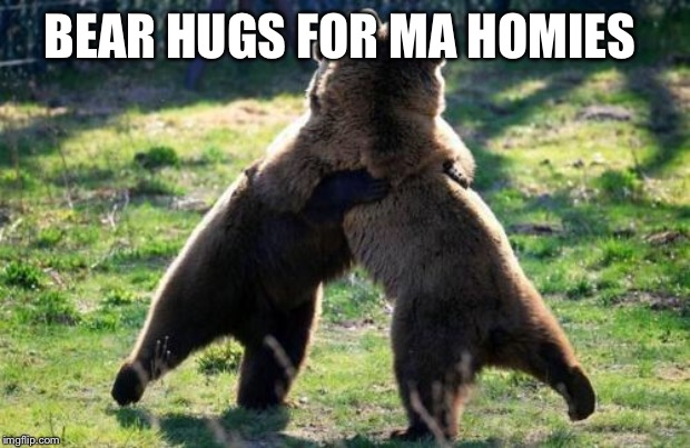 bearhug | BEAR HUGS FOR MA HOMIES | image tagged in bearhug | made w/ Imgflip meme maker