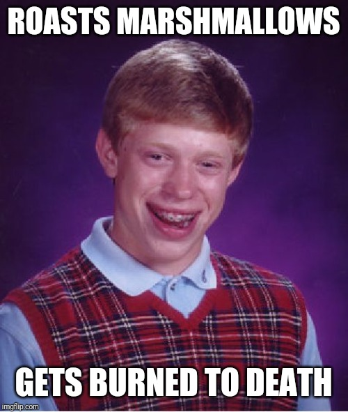 Bad Luck Brian Meme | ROASTS MARSHMALLOWS GETS BURNED TO DEATH | image tagged in memes,bad luck brian | made w/ Imgflip meme maker
