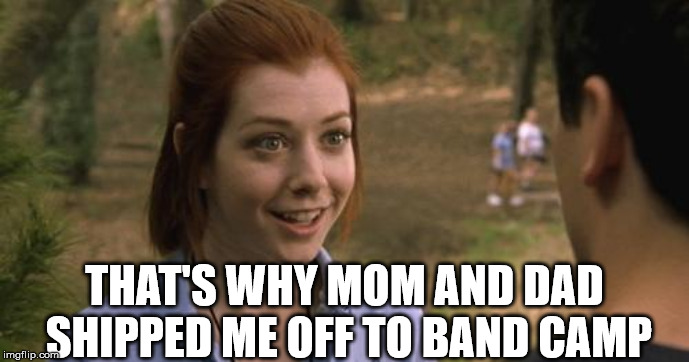 band camp | THAT'S WHY MOM AND DAD SHIPPED ME OFF TO BAND CAMP | image tagged in band camp | made w/ Imgflip meme maker