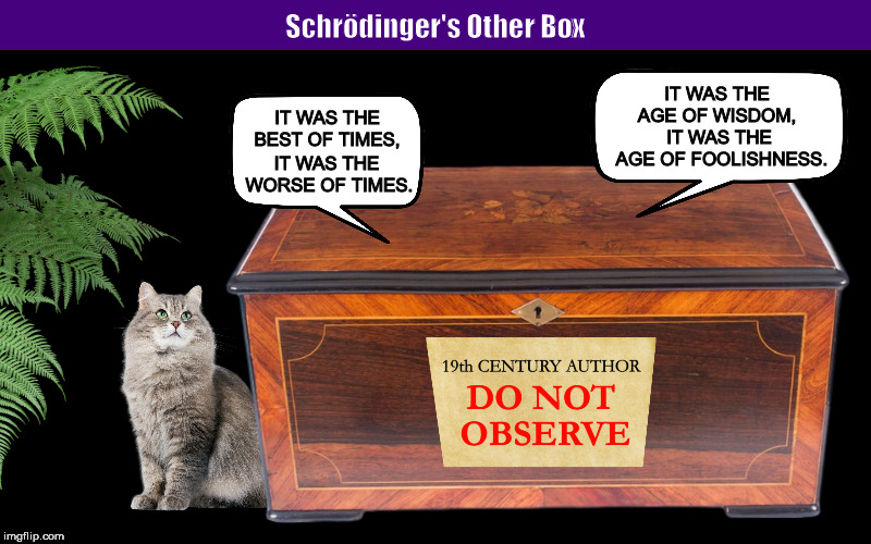 Schrödinger's Other Box | image tagged in schrodinger's cat,schrodinger's box,schrodinger,paradox,memes,charles dickens | made w/ Imgflip meme maker