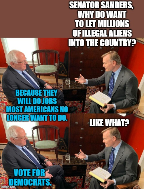 SENATOR SANDERS, WHY DO WANT TO LET MILLIONS OF ILLEGAL ALIENS INTO THE COUNTRY? VOTE FOR DEMOCRATS. BECAUSE THEY WILL DO JOBS MOST AMERICAN | image tagged in sanders interview | made w/ Imgflip meme maker