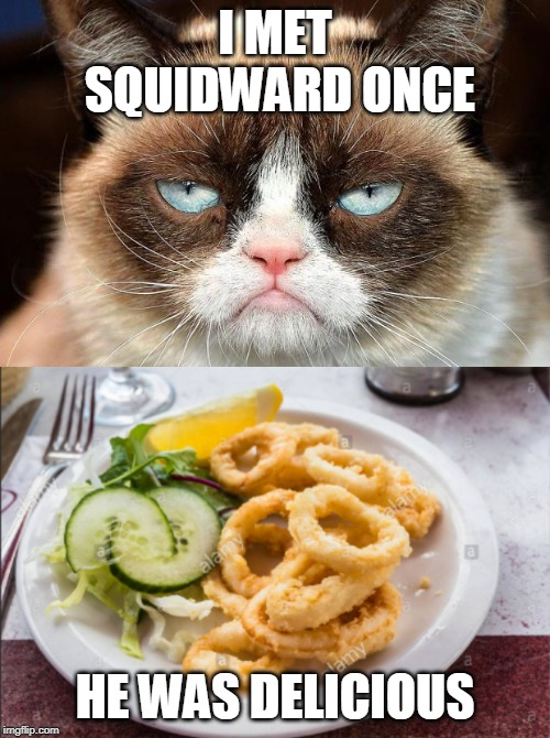 The true reason Squidward Week ended! ¯_(ツ)_/¯ Squidward Week, a Sahara-jj and EGOS event. | I MET SQUIDWARD ONCE HE WAS DELICIOUS | image tagged in memes,grumpy cat not amused,squidward week,grumpy cat,squidward,cooking | made w/ Imgflip meme maker