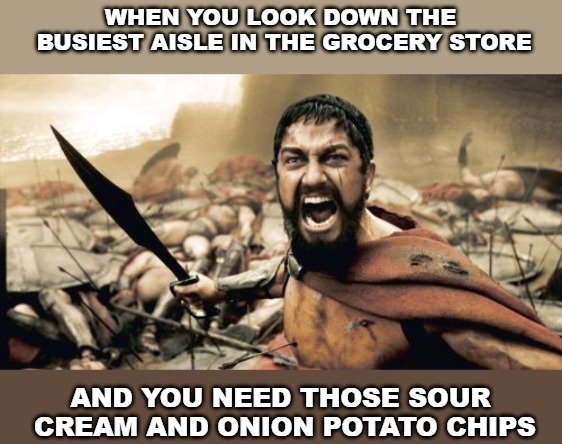 Sparta Leonidas | WHEN YOU LOOK DOWN THE BUSIEST AISLE IN THE GROCERY STORE AND YOU NEED THOSE SOUR CREAM AND ONION POTATO CHIPS | image tagged in memes,sparta leonidas | made w/ Imgflip meme maker