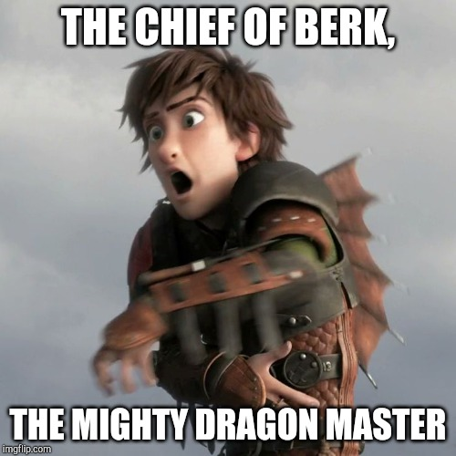 Funny httyd 2 hiccup | THE CHIEF OF BERK, THE MIGHTY DRAGON MASTER | image tagged in httyd | made w/ Imgflip meme maker