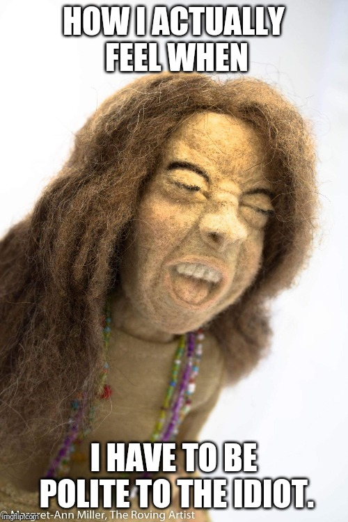 The Roving Artist | HOW I ACTUALLY FEEL WHEN I HAVE TO BE POLITE TO THE IDIOT. | image tagged in felt cute,music,janis joplin,needle felting,wool sculpture | made w/ Imgflip meme maker