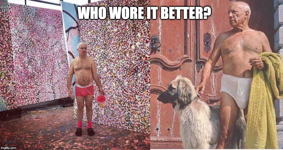 Damien Hirst vs Picasso | WHO WORE IT BETTER? | image tagged in art,picasso,oil painting,who wore it better,artist,modern art | made w/ Imgflip meme maker