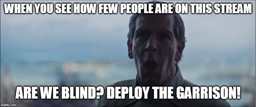 are we blind? | WHEN YOU SEE HOW FEW PEOPLE ARE ON THIS STREAM ARE WE BLIND? DEPLOY THE GARRISON! | image tagged in are we blind | made w/ Imgflip meme maker