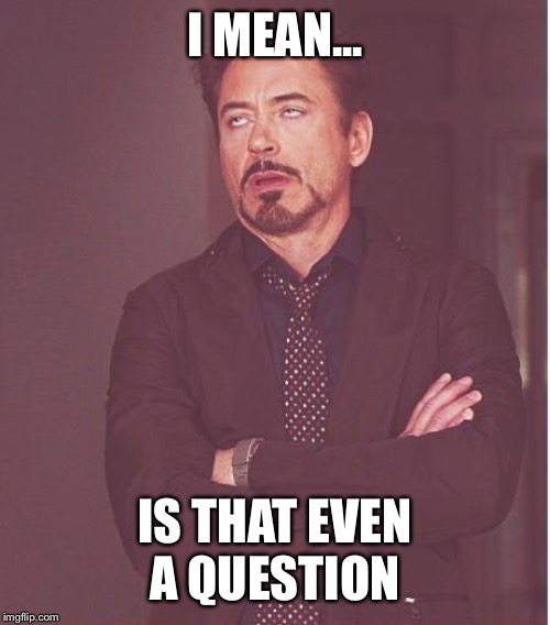 I MEAN... IS THAT EVEN A QUESTION | image tagged in memes,face you make robert downey jr | made w/ Imgflip meme maker