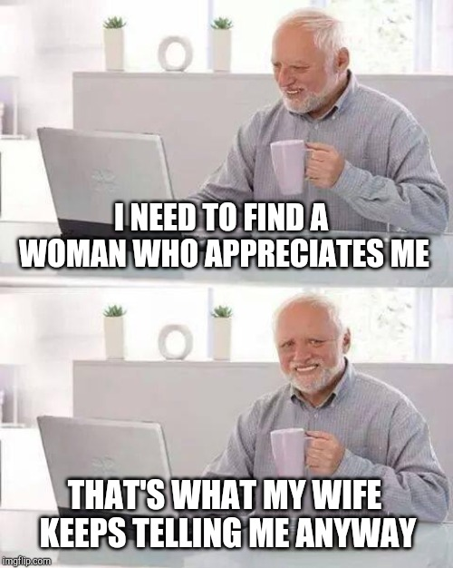 Hide the Pain Harold Meme | I NEED TO FIND A WOMAN WHO APPRECIATES ME THAT'S WHAT MY WIFE KEEPS TELLING ME ANYWAY | image tagged in memes,hide the pain harold | made w/ Imgflip meme maker