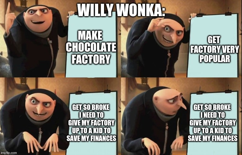Willy Wonka | WILLY WONKA: MAKE CHOCOLATE FACTORY GET FACTORY VERY POPULAR GET SO BROKE I NEED TO GIVE MY FACTORY UP TO A KID TO SAVE MY FINANCES GET SO B | image tagged in gru poster | made w/ Imgflip meme maker
