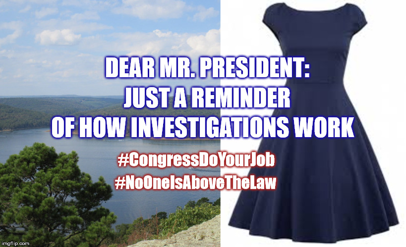 Impeach Trump | DEAR MR. PRESIDENT: JUST A REMINDER OF HOW INVESTIGATIONS WORK #CongressDoYourJob #NoOneIsAboveTheLaw | image tagged in congressdoyourjov,impeach trump,start impeachment now,donald trump,donaldtrump | made w/ Imgflip meme maker