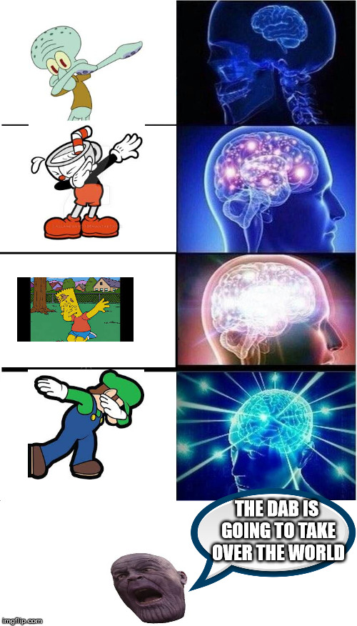 Expanding Brain Meme | THE DAB IS GOING TO TAKE OVER THE WORLD | image tagged in memes,expanding brain | made w/ Imgflip meme maker