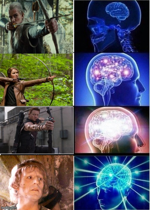 Expanding Brain | image tagged in memes,expanding brain,archery,monty python and the holy grail | made w/ Imgflip meme maker