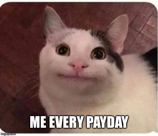 Polite Cat | ME EVERY PAYDAY | image tagged in polite cat | made w/ Imgflip meme maker