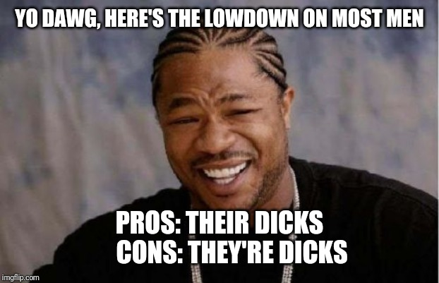 Men in a nutshell | YO DAWG, HERE'S THE LOWDOWN ON MOST MEN PROS: THEIR DICKS     CONS: THEY'RE DICKS | image tagged in memes,yo dawg heard you | made w/ Imgflip meme maker
