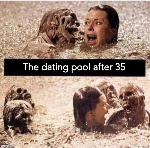 Drowning In Candidates |  The dating pool after 35 | image tagged in dating,pool,candidates,middle age,scared | made w/ Imgflip meme maker