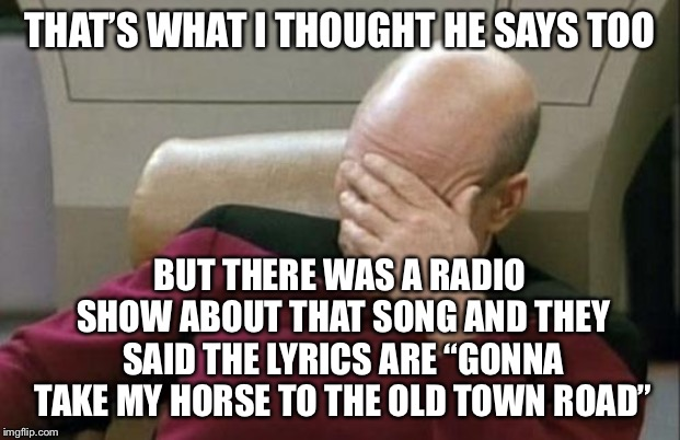 "Captain Picard Facepalm Meme | THAT'S WHAT I THOUGHT HE SAYS TOO BUT THERE WAS A RADIO SHOW ABOUT THAT SONG AND THEY SAID THE LYRICS ARE ""GONNA TAKE MY HORSE TO THE OLD TO 