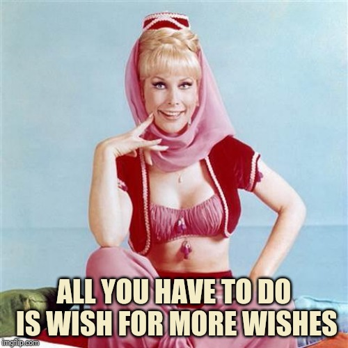 Dream Jeannie | ALL YOU HAVE TO DO IS WISH FOR MORE WISHES | image tagged in dream jeannie | made w/ Imgflip meme maker