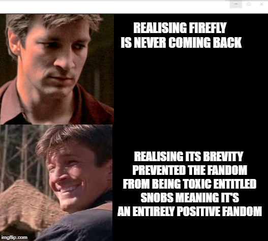 Firefly is the best gorram fandom ever |  REALISING FIREFLY IS NEVER COMING BACK; REALISING ITS BREVITY PREVENTED THE FANDOM FROM BEING TOXIC ENTITLED SNOBS MEANING IT'S AN ENTIRELY POSITIVE FANDOM | image tagged in firefly,fandom | made w/ Imgflip meme maker
