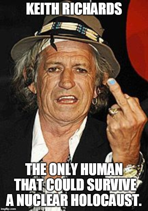 KEITH RICHARDS THE ONLY HUMAN THAT COULD SURVIVE A NUCLEAR HOLOCAUST. | image tagged in keith richards | made w/ Imgflip meme maker
