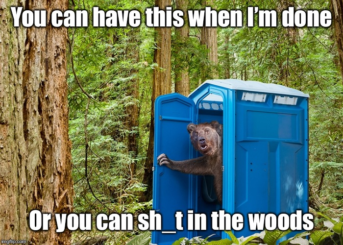 Outhouse Bear | You can have this when I'm done Or you can sh_t in the woods | image tagged in outhouse bear | made w/ Imgflip meme maker