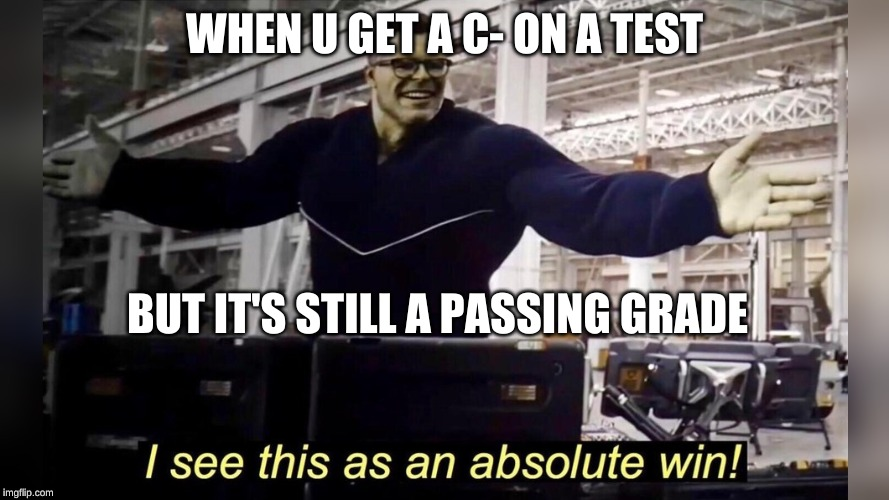 victory royale | WHEN U GET A C- ON A TEST BUT IT'S STILL A PASSING GRADE | image tagged in memes | made w/ Imgflip meme maker