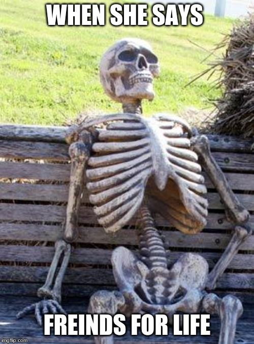 Waiting Skeleton | WHEN SHE SAYS FREINDS FOR LIFE | image tagged in memes,waiting skeleton | made w/ Imgflip meme maker