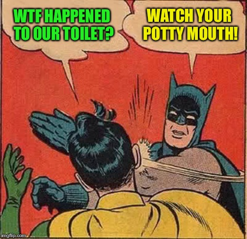 Batman Slapping Robin Meme | WTF HAPPENED TO OUR TOILET? WATCH YOUR POTTY MOUTH! | image tagged in memes,batman slapping robin | made w/ Imgflip meme maker
