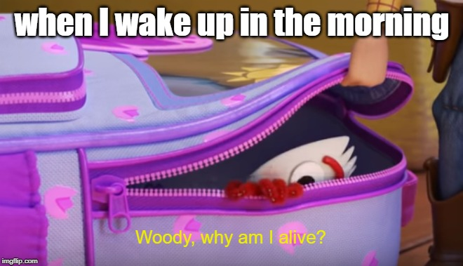 Toy Story 4 | when I wake up in the morning Woody, why am I alive? | image tagged in toy story,memes | made w/ Imgflip meme maker