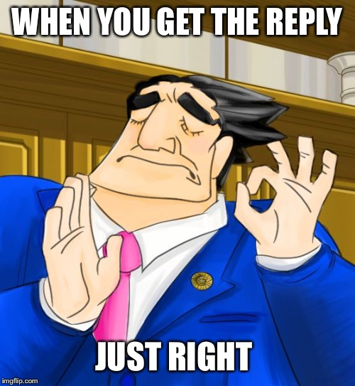 pacha phoenix wright | WHEN YOU GET THE REPLY JUST RIGHT | image tagged in pacha phoenix wright | made w/ Imgflip meme maker