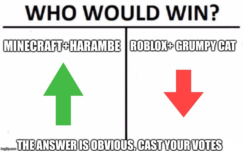 Who Would Win? | MINECRAFT+HARAMBE ROBLOX+ GRUMPY CAT THE ANSWER IS OBVIOUS, CAST YOUR VOTES | image tagged in memes,who would win | made w/ Imgflip meme maker